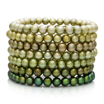 Dyed Green Freshwater Pearl 7-pc. Stretch Bracelet Set