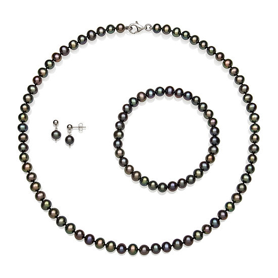 Dyed Cultured Freshwater Pearl Sterling Silver 3-pc. Jewelry Set