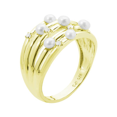 Cultured Freshwater Pearl and Genuine White Topaz Sterling Silver Multi-Row Ring