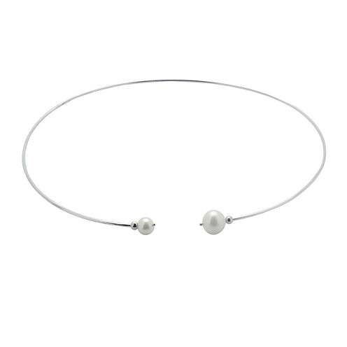 Cultured Freshwater Pearl Sterling Silver Cuff Necklace