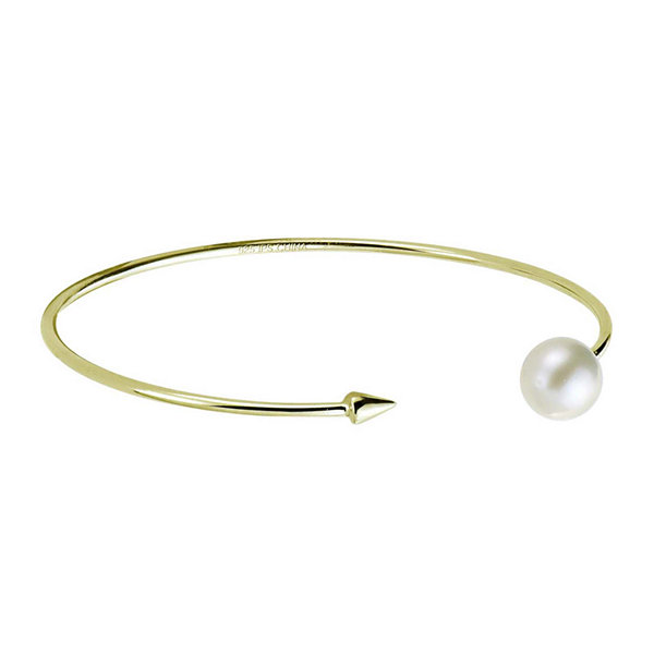 Cultured Freshwater Pearl and Arrow Bangle Bracelet