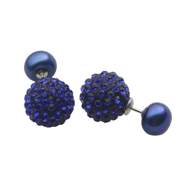 Blue Cultured Freshwater Pearl and Crystal Front-to-Back Earrings