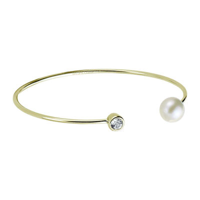 Cultured Freshwater Pearl and Genuine White Topaz Cuff Bangle Bracelet