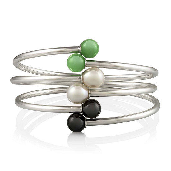 Multi-Stone 3-pc. Sterling Silver Bangle Bracelet Set