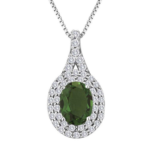 Simulated Emerald & Lab-Created White Sapphire Sterling Silver Halo Pendant Necklace