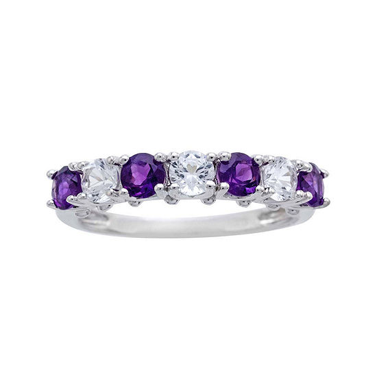 Genuine Amethyst And Lab Created White Sapphire Sterling Silver Band Ring