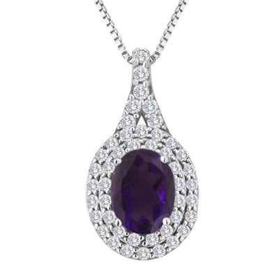 Genuine Amethyst and Lab-Created White Sapphire Sterling Silver Halo Pendant Necklace