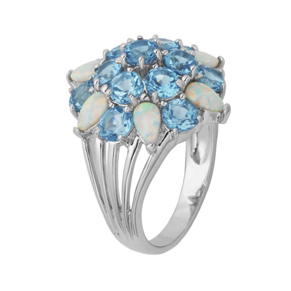 Genuine Swiss Blue Topaz and Lab-Created Opal Cluster Ring