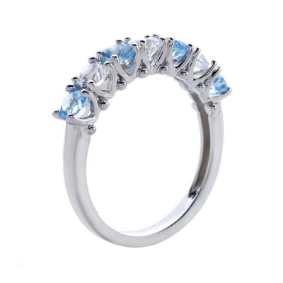 Genuine Blue Topaz and Lab-Created White Sapphire Sterling Silver Band Ring