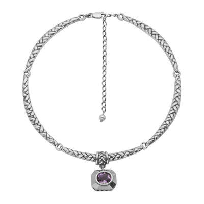 Genuine Brazilian Amethyst Oxidized Sterling Silver Necklace