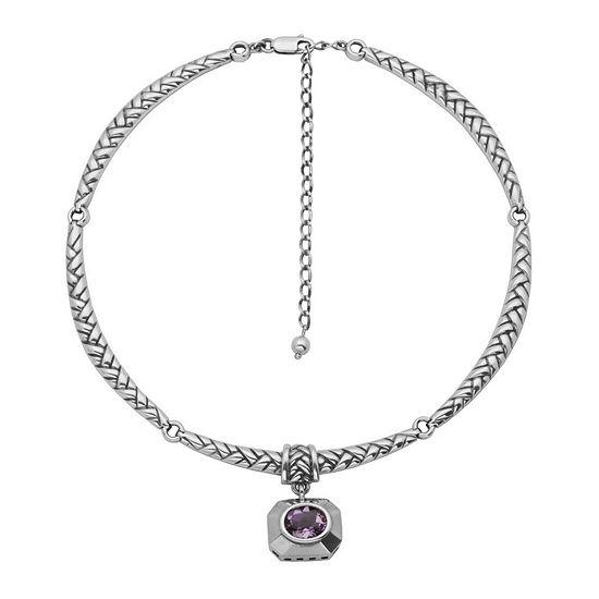 Genuine Brazilian Amethyst Oxidized Sterling Silver Necklace