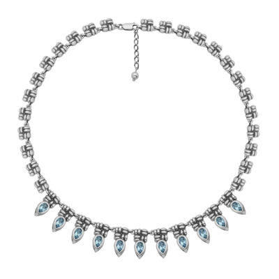 Genuine Sky Blue Topaz Oxidized Sterling Silver Collar Necklace