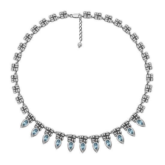 Genuine Sky Blue Topaz Oxidized Sterling Silver Collar Necklace
