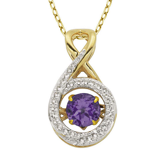 Love in Motion™ Genuine Amethyst and Lab-Created White Sapphire Infinity Pendant Necklace