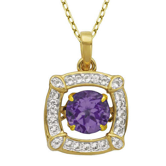 Love in Motion™ Genuine Amethyst and Lab-Created White Sapphire Pendant Necklace