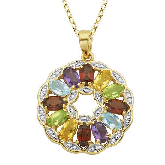Multi-Gemstone and Diamond-Accent Round Pendant Necklace