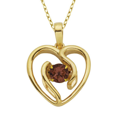 Genuine Garnet Heart Pendant Necklace