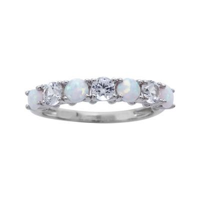 Lab-Created Opal and Lab-Created White Sapphire Sterling Silver Band Ring