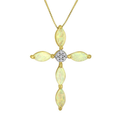 Lab-Created Opal and Diamond-Accent 10K Yellow Gold Cross Pendant Necklace