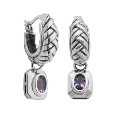 Genuine Brazilian Amethyst Oxidized Sterling Silver Earrings