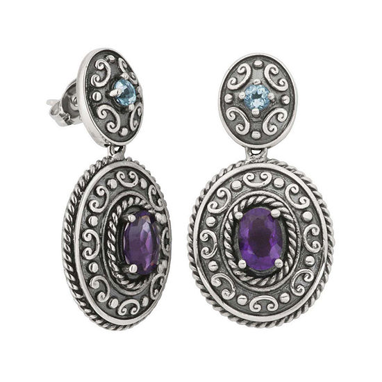 Genuine African Amethyst And Blue Topaz Oxidized Sterling Silver Drop Earrings