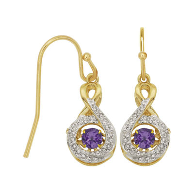 Love in Motion™ Genuine Amethyst and Lab-Created White Sapphire Round Earrings