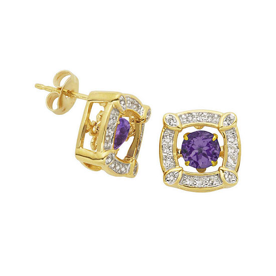 Love In Motion Genuine Amethyst And Lab Created White Sapphire Earrings