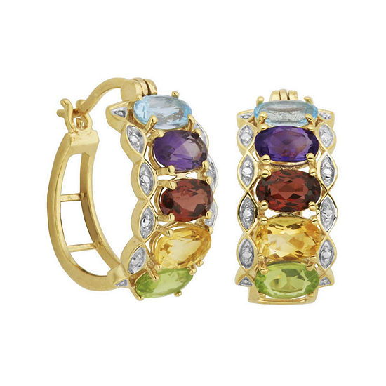Multi-Gemstone and Diamond-Accent Hoop Earrings