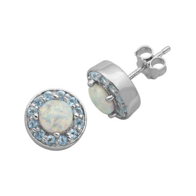 Genuine Swiss Blue Topaz and Lab-Created Opal Halo Earrings