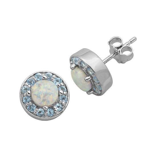 Genuine Swiss Blue Topaz And Lab Created Opal Halo Earrings