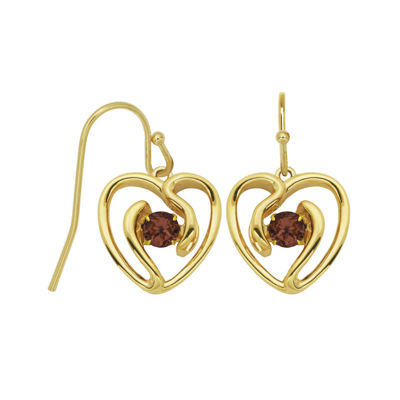 Genuine Garnet Heart Drop Earrings