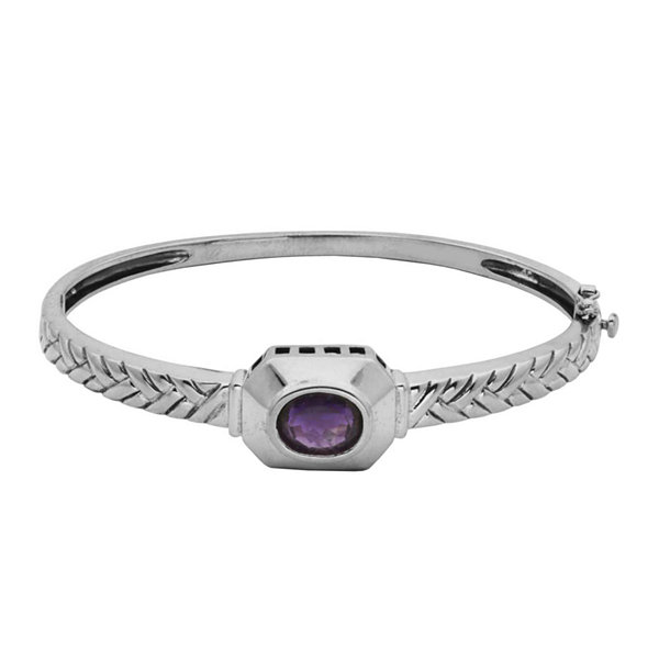 Genuine Brazilian Amethyst Oxidized Sterling Silver Bangle Bracelet
