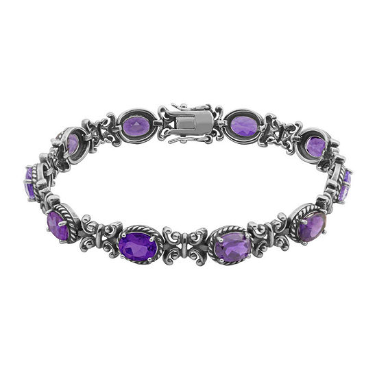 Genuine Amethyst Oxidized Sterling Silver Tennis Bracelet
