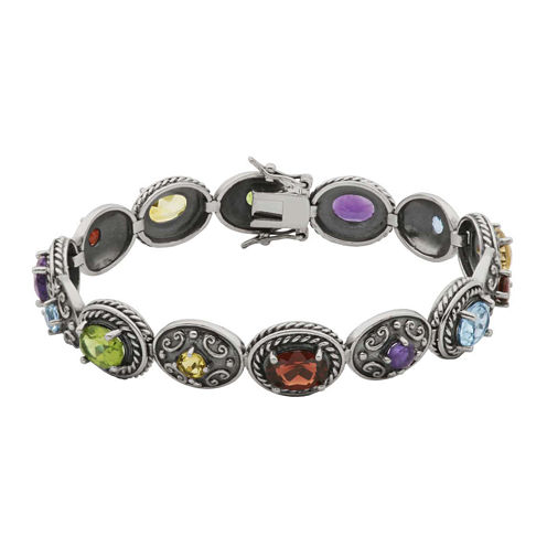 Multi-Gemstone Oxidized Sterling Silver Tennis Bracelet