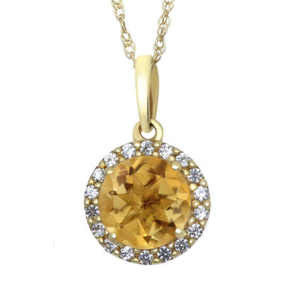 Genuine Citrine and Lab-Created White Sapphire 10K Yellow Gold Halo Pendant Necklace
