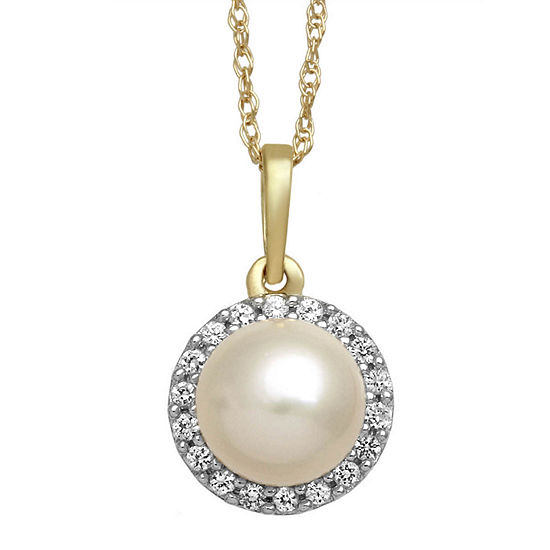 Cultured Freshwater Pearl and White Sapphire 10K Yellow Gold Halo Pendant Necklace