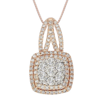 diamond blossom 1 CT. T.W. Diamond 10K Rose Gold Double-Halo Pendant Necklace