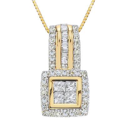 1/2 CT. T.W. Diamond 10K Yellow Gold Quad Princess-Cut Pendant Necklace
