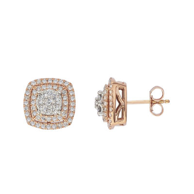 diamond blossom 1 CT. T.W. Diamond 10K Rose Gold Double-Halo Earrings