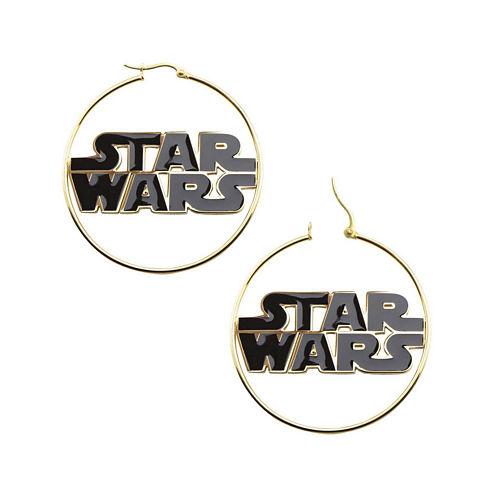 Star Wars® Stainless Steel and Enamel Logo Hoop Earrings
