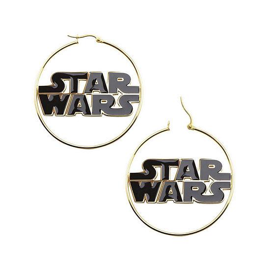 Star Wars Stainless Steel And Enamel Logo Hoop Earrings
