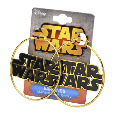 Star Wars® Stainless Steel and Enamel Logo Hoop Earrings