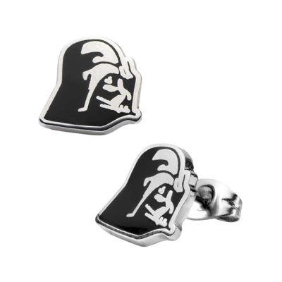 Star Wars® Stainless Steel and Enamel Darth Vader Stud Earrings