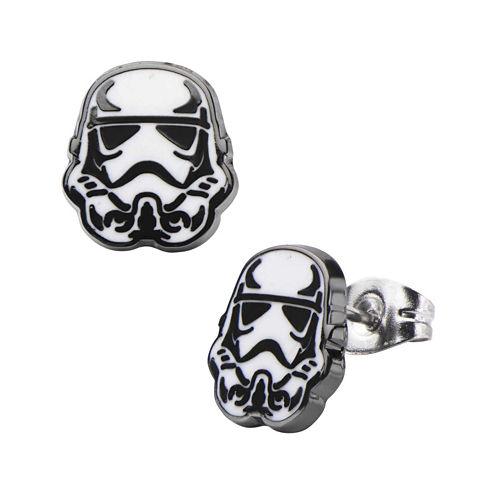 Star Wars® Stainless Steel and Enamel Stormtrooper Stud Earrings