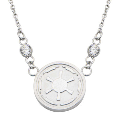 Star Wars® Stainless Steel Imperial Symbol Pendant Necklace