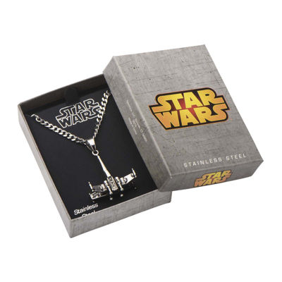 Star Wars® Stainless Steel X-Wing Fighter Pendant Necklace