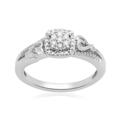 Hallmark Diamonds 1/7 CT. T.W. Diamond Double-Heart Sterling Silver Ring