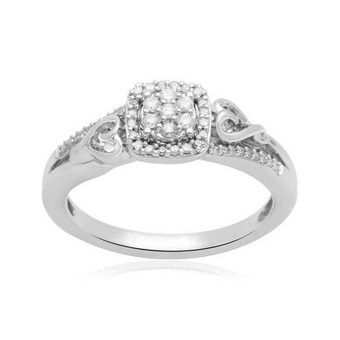 Hallmark Diamonds 1/7 CT. T.W. Diamond Double-Heart Sterling Silver Ring