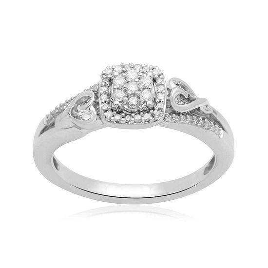 Hallmark Diamonds 1 7 Ct Tw Genuine Diamond Double Heart Sterling Silver Ring