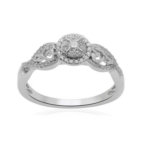 Hallmark Diamonds 1/4 CT. T.W. Diamond Double-Heart Sterling Silver Ring